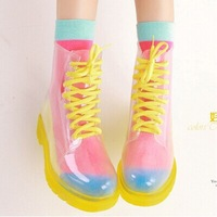 free shipping summer fashion jelly transparent lacing martin boots rainboots female short slip-resistant overstrung water shoes