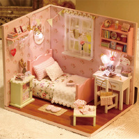 Assembling Diy Miniature Model Kit Wooden Doll House, Unique mini size  House Toy with Furnitures for Kids & Lover free Shipping