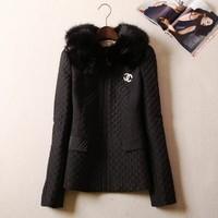 2014 Autumn Winter Women clothing fashion elegant fur collar slim thermal short wadded jacket ladies cotton-padded coat