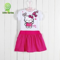 Retail 2015 New Hello Kitty Dress Rose O-Neck  Short Sleeve Soft Fabric Girls Summer Dresses Childrens Clothing