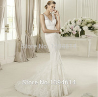 2015 New Style FS1168 Lace royal princess fish tail train Mermaid wedding dress formal dress new arrival