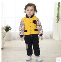 New arrivel baby long sleeve jacket  2 pc sets winter boy's girl's Wear  baby clothes cotton clothes with 0-4year