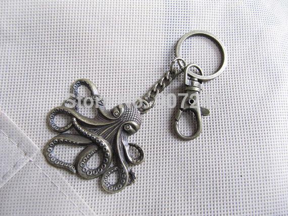 100pcs / lot Wholesale brass Octopus keychain, Octopus Jewelry , Octopus Pendant, Big Octopus , Kraken, cthulhu keychain(China (Mainland))