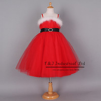 2014 Christmas Girl Dress Fur Red Princess Party Dresses With Rhinestone Belt And Bow Children Clothes GD41030-01^^EI