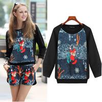 Autumn Hoodies 3D Pattern Animal Fox Printed Tracksuit Women Hoody 2014 Casual Elegant Pullover Sport Novelty Sleeve Sweatshirt