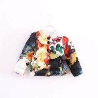 high quality fashion children girl lace patchwork floral cotton-padded coat warm jackets