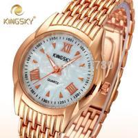 New Fashion Relogio Shell Dial Ladies Quartz Casual Dress Watch Women Steel Bracelet Rose Gold Watch Kingsky Women Wristwatches