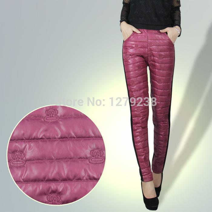 venda quente 2014 europeu de moda coreano novas mulheres outono inverno macaco quente padrão de veludo de pato para baixo calças de algodão casuais banda(China (Mainland))