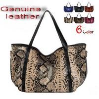 2015 European Fashion Snake Pattern Women handbag 100% Genuine Leather Tote Bags  Women messenger bags Woman bag free shipping