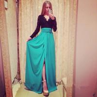 2014 Winter Fashion Patchwork Party Dress 2 Color V-Neck Long Sleeve Bowknot Backless High Split Maxi Elegant Casual Vestidos