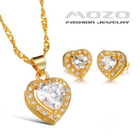Wholesale new fashion popular jewelry copper plated 18k yellow gold zircon women necklace earrings suits bridal jewelry TY621