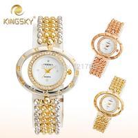 New Fashion Women Rhinestone Dress Watch Woman Quartz Relogio Ladies Gold Bracelet Casual Watch kingsky Luxury Women Wristwatch