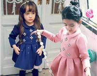 Wholesale Free EMS Fashion Winter Fleece Temperament Children Princess Dress Girls Thickening Dresses Blue Pink