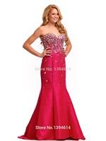 Trumpet Prom Dresses Handmade Rhinestone Beaded Sweetheart Neckline Sleeveless Boning