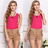 Casual Shirt Sleeveless Women Tops Summer Blouse Chiffon O-neck Fashion 2014 Blusa Woman Clothes Solid 16 Colors  Shirts ZNH056