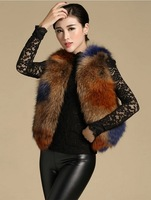 EMS/DHL free shippingnew arrival lady winter  vest racoon dog fur women waistcoat contrast pure color slim luxury fashion coat