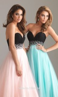 The Newest Charming Black Tiny Uniform Ruched Sweetheart Neckline Beaded Sash Pink Tulle Prom Dresses Long Empire Waistline