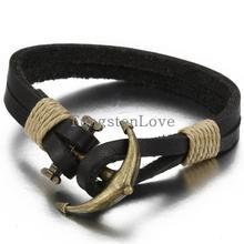20 cm joyeria para hombre estilo pirata de bronce piel genuina ancla bracaletes venta al por mayor trenzado Wrap pulsera y brazaletes regalos(China (Mainland))