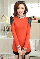 new winter Korean women with cashmere thickened puff sleeve lace tshirt blusas femininas YS1532LT