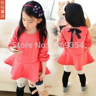 2014 Autumn Winter Children Girls Sweet Long Sleeve Round Neck Princess Pleated Tutu Dress(China (Mainland))