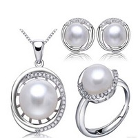 free shipping three-piece suit white freshwater pearl necklace earring ring set 8-11mm Q23#