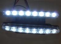 One Pair White 8 LED daytime running lights drl light bar parking car fog lights strobe light 12V DC Head Lamp