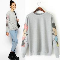 New 2014 Fall Women Fashion Loose Crewneck Sweatshirt Cute Sleeves women hoody Printed Pullovers casual Sweater Hoodies Suits