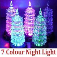 Acrylic Small Night Light Colorful Flash Change Color Led Pagoda Christmas decoration children Gift NightLight FreeShipping