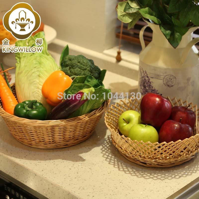 Free shipping household willow storage tray fruit plate storage basket rattan snacks storage basket bread plate(China (Mainland))