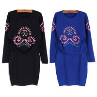 New 2014 Long Sleeve Black Blue Autumn Winter Knitted Party Dress 2 PCS Bandage Bodycon Ribbed Sweater Casual Elastic Dress