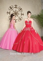 Red New 2015 Spring Ball Gowns Applique Brilliant Beaded Strapless Neckline Tulle Lace Up Long Quinceanera Dresses Jacket