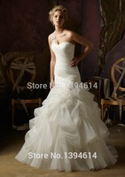 Free shipping HO-675 Elegant Mermaid Sweetheart Beaded Pleat Flowers Organza Write/Ivory Wedding Dress Custom-made