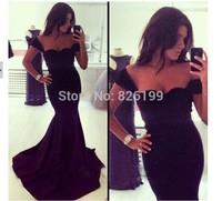 New Arrival Free Shiping Spaghetti Strap Long Maxi Dresses Black Fishtail Vintage Dress Women Party Elegant