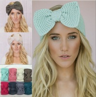 5pcs/Lot Wholesale Wide Bow Knitted Crochet Solid Knitheadband Headwrap Hair Band Ear Warmer Great quality Free shipping