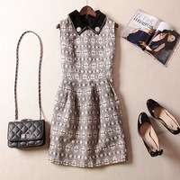 Free Shipping 2014 Autumn women's clothing  horsehair collar  plaid flower tank dress ladies fashion vest dress