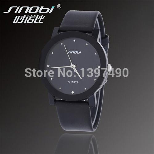 Wholesale Sales SINOBI All Black Diamond Crystal Elegant Quartz Watch, All A Man's Gift Waterproof Belt Quartz Watch(China (Mainland))