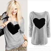 2014 new fashion Women Heart Printed Crewnecks Long Sleeve shirt Casual Cotton Blouse Size SML XL Blouse blusas Q242