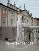 Berta New Arrives Beaded Spaghetti Straps Sweetheart Sleeveless Court Train Bridal Gowns Lace Mermaid Wedding Dresses 2014