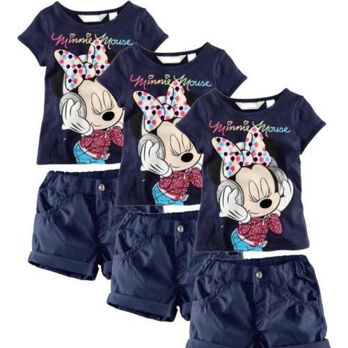 Crianças Meninas Verão Roupa Minnie Mouse Tops T-shirt + Shorts Outfits2-6Y(China (Mainland))