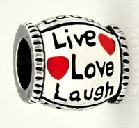 2pcs/lot 925 Silver live love laugh big hole bead European Beads Fits Silver Charm pandora Bracelets necklaces pendants