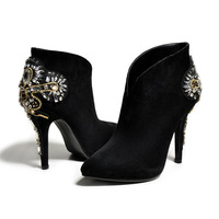 European and American big new style fashion tip ultra short boots shining bright A flower glass with bare boots