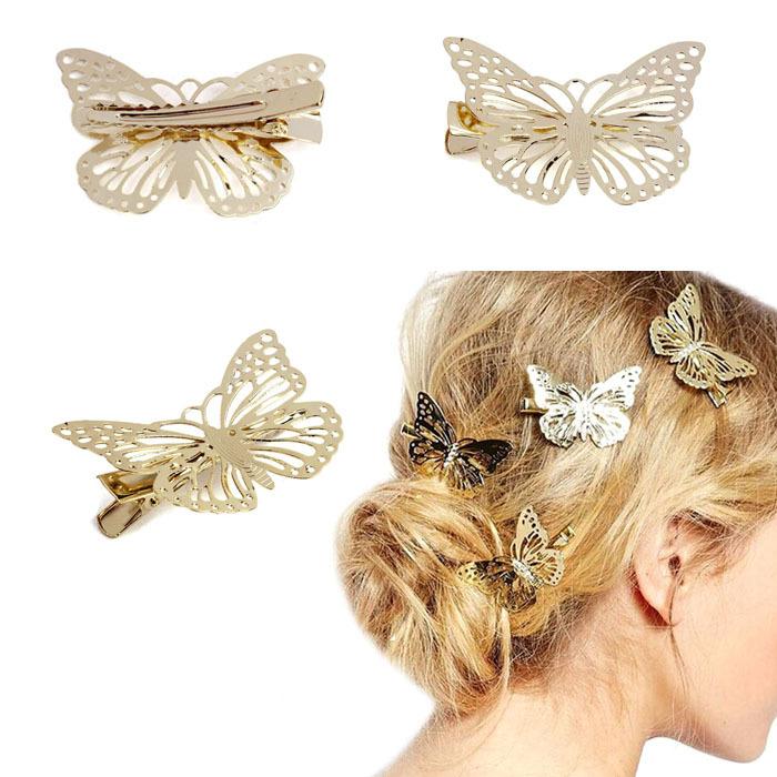 Newest Golden Butterfly Hair Clip Headband Hair Accessories Headpiece T-east(China (Mainland))
