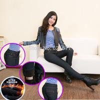 2014 Autumn/Winter Women Casual Fashion Warm Fleece Thicken Slim Skinny Pencil Pants Denim Jeans S/M/L/XL/2XL/3XL/4XL Plus Size