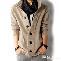 New male collar sweater thick knit Cardigan Sweater jacket