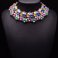 New Arrival Luxury Brand Design Women Za Big Exaggeration Multicolored Necklace Short Paragraph Clavicle Chain Necklace Fashion