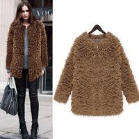 2014 New Women Winter Coat Fashion Woman flocking thick  Coat Knitwear Long Sleeve  Faux Fur Cardigan OverCoat