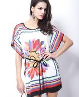 Spring Summer Classic retro print dress, palace Ting Caiju flower bat sleeve dress, O- collars head dress, + belt