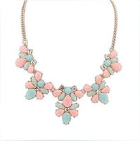 2014 New arrival jewelry imitation gem flower statement necklace collar necklaces & pendants Short clavicle necklace LP-210