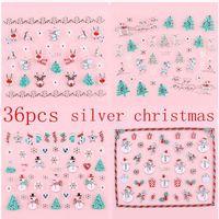 36pcs Silver Metal Christmas Nail Stickers Adhesive Xmas Snowman Santa Manicure Tips