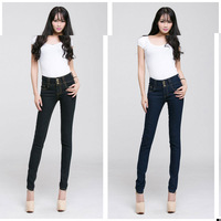Hot sale women Korean Style cotton mid-waist simplify solid cutting out  show thin denim women dark blue and black skinny jeans